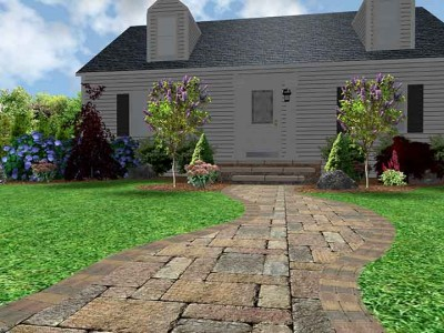 3D front landscape design with hardscape and softscapes loacted in Genesee County, MI