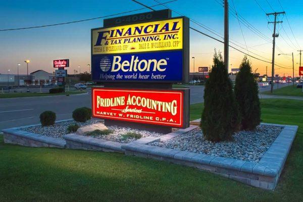 Shot at Sunset commerical sign landscaping on miller rd, Flint Township, MI