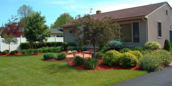 Vibrant landscape softscape with green grass and flowering shrubs located in Flint Township, MI