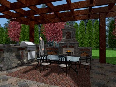 3d design of outdoor living space with cedar pergola, uinilock fireplace, patio, copthorne rug, built-in grill BBQ, kitchen sink and fireboxes with landscape lighting