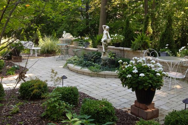 Butterfly japanese estate or sculpture theme gardens moonlight garden shown after rain with deerskin large flagstone walk to unilock brussels patio and seat aloadofball Image collections