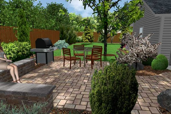 3D landscape design backyard with unilock patio, seating wall, grill and plants and trees located in Flint, MI