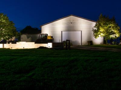Garage and Walls lit by LED Landscape Lights in Davisoin, MI