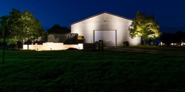 Garage and Walls lit by LED Landscape Lights in Davisoin, MI