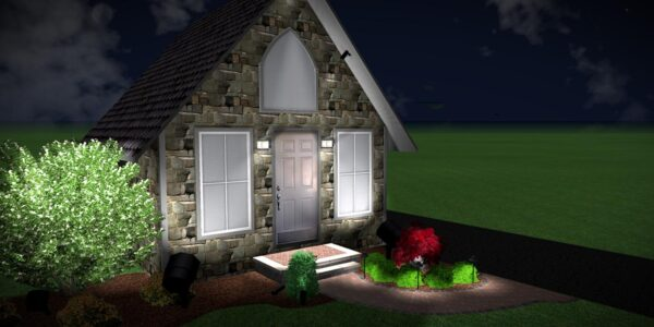 3D Computer Design of LED Landscape Lighting house shown with lit Unilock paver walk, patio and plants