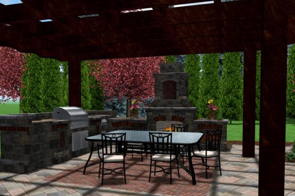 Outdoor Living area with Pergola, Outdoor kitchen, Unilock, fireplace, table, sink and gas grill, BBQ