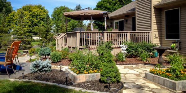 Luscious Backyard planting featuring Veggie Planters around a deck and patio.